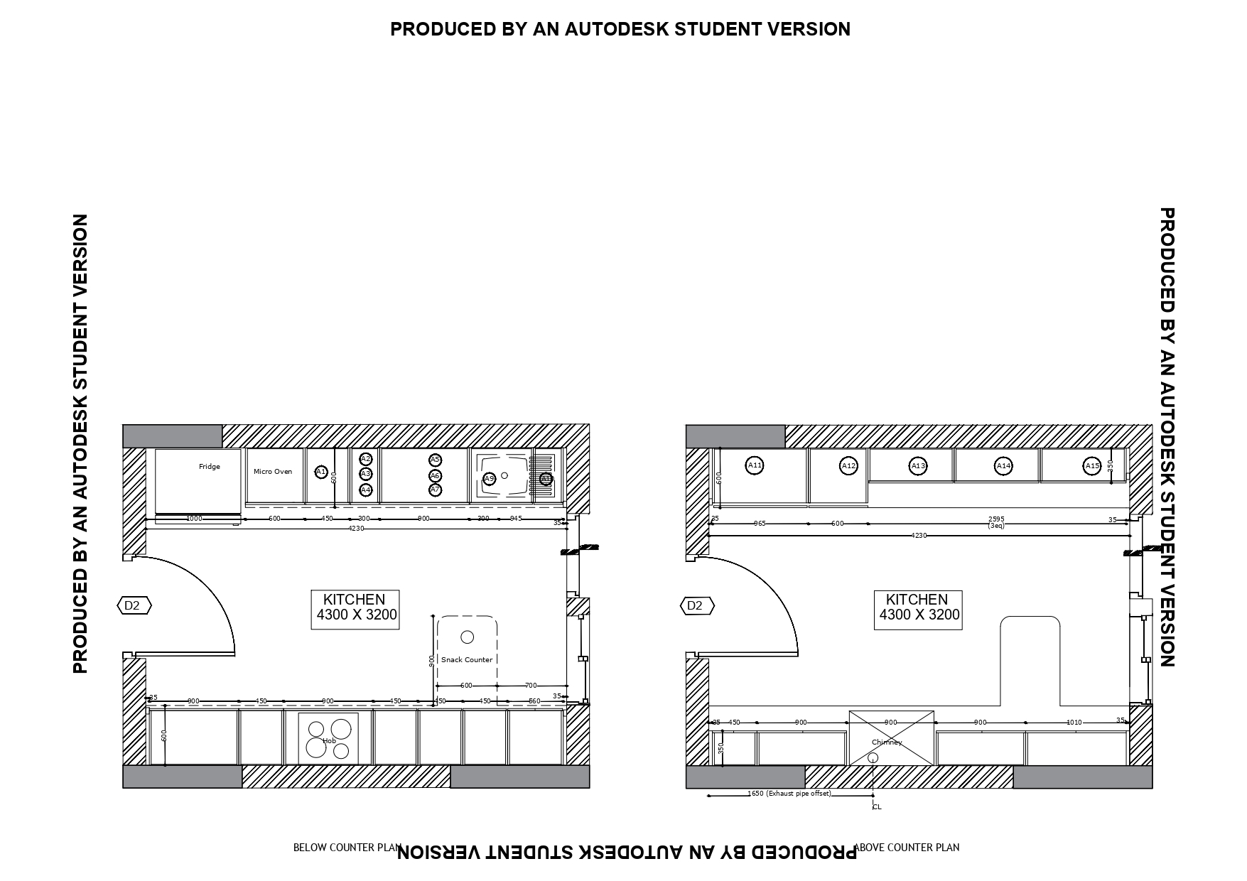 Autocad Layout Of Kitchen Cabinet Elevation Of A Residential Building And Industrial Building Section Week 9 Skill Lync